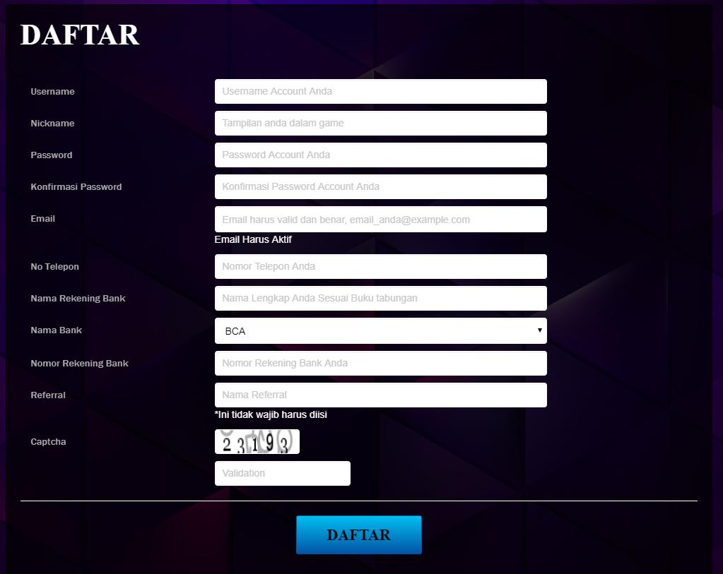 form daftar poker online